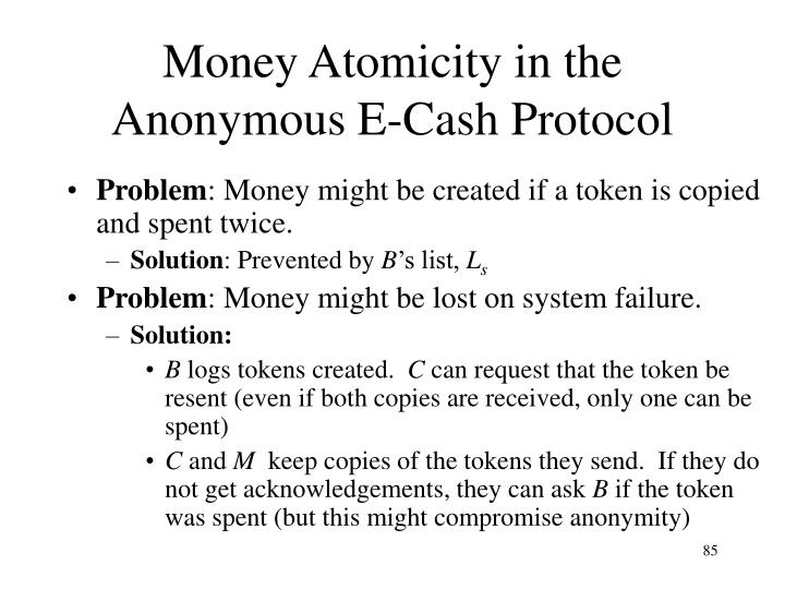 Money Atomicity in the Anonymous E-Cash Protocol