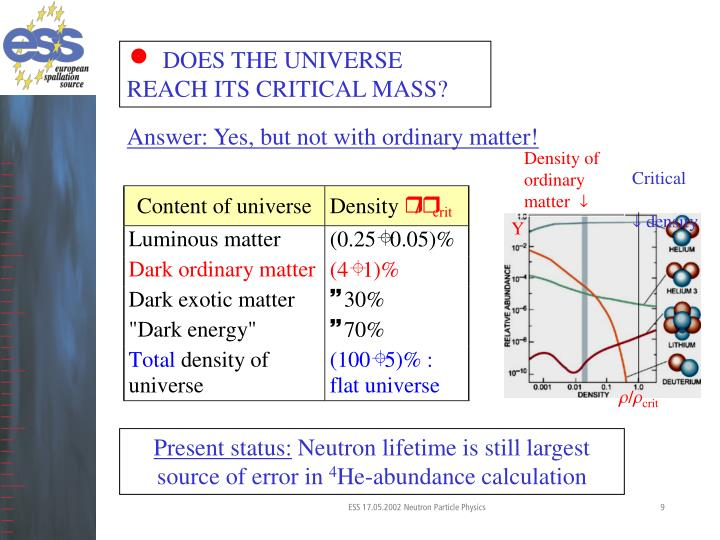 DOES THE UNIVERSE REACH ITS CRITICAL MASS?