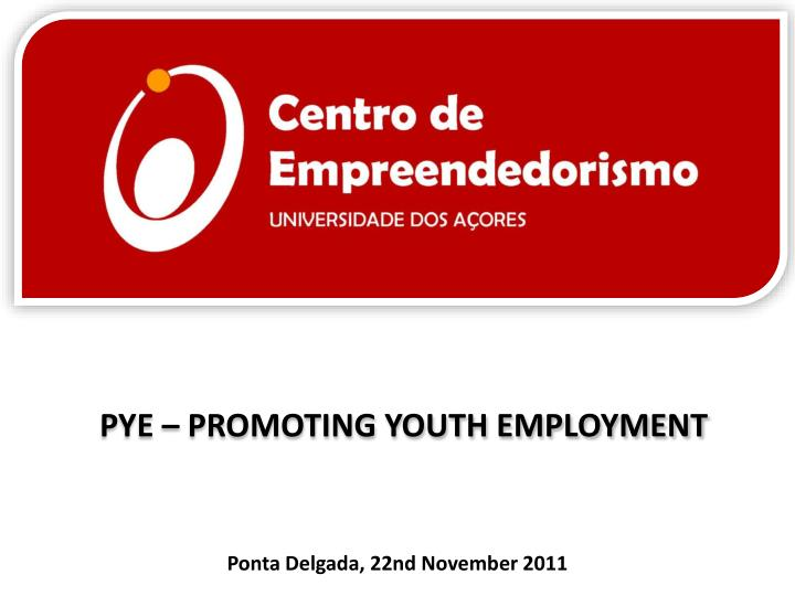 Pye promoting youth employment