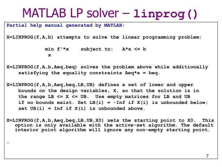 MATLAB LP solver –