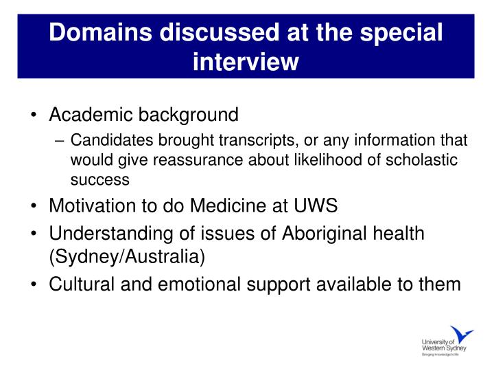 Domains discussed at the special interview