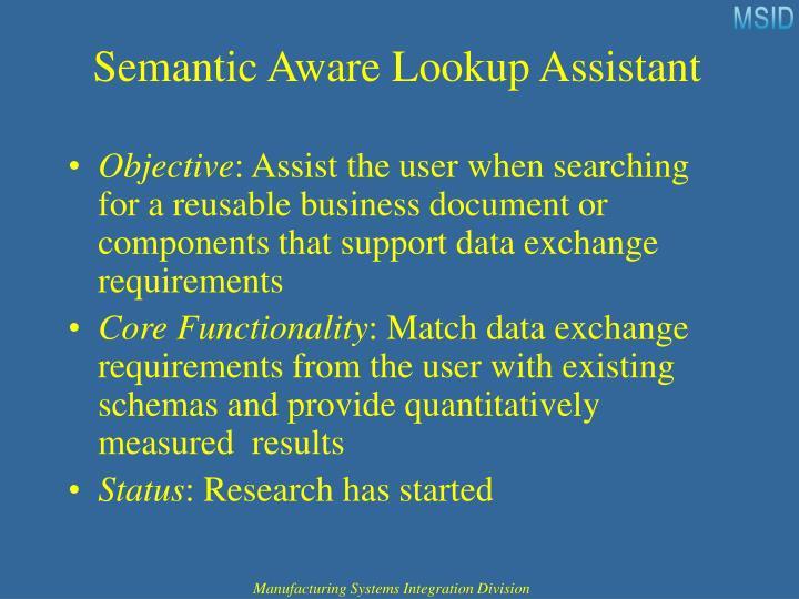 Semantic Aware Lookup Assistant