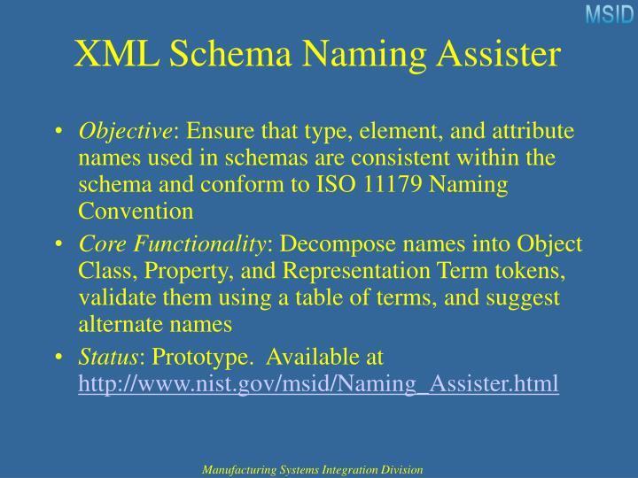 XML Schema Naming Assister