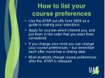 how to list your course preferences