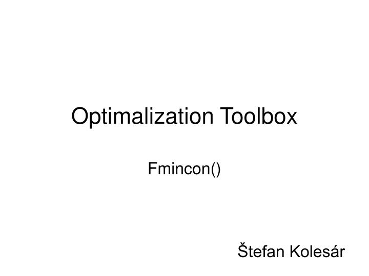 Optimalization toolbox