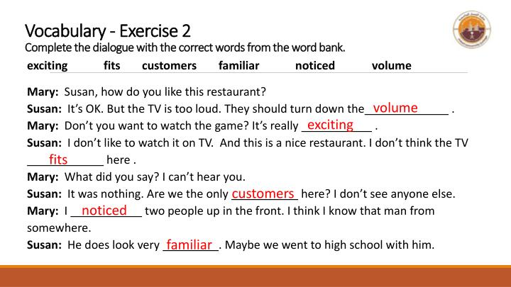 Vocabulary - Exercise 2