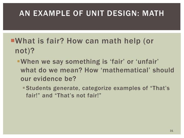 An example of unit design: math