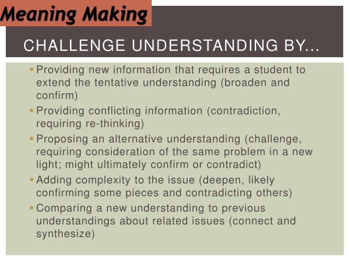 Challenge Understanding by...