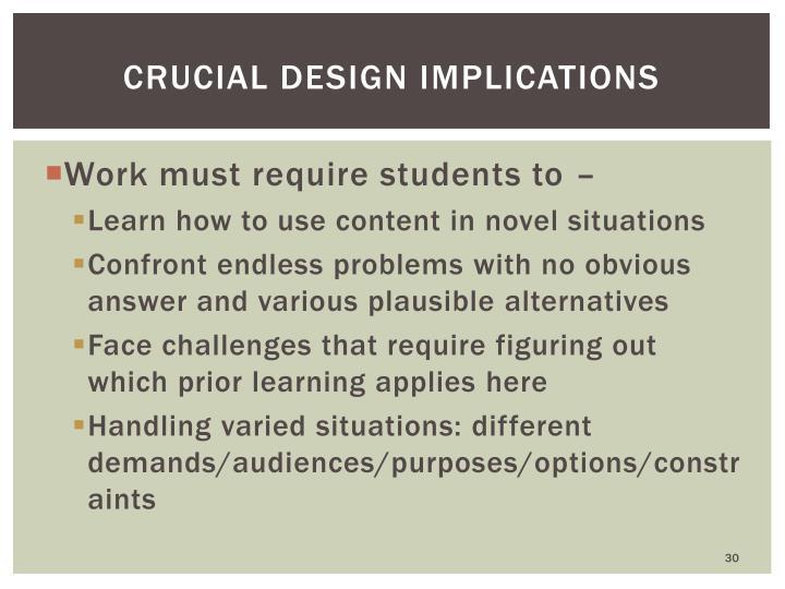 Crucial design implications