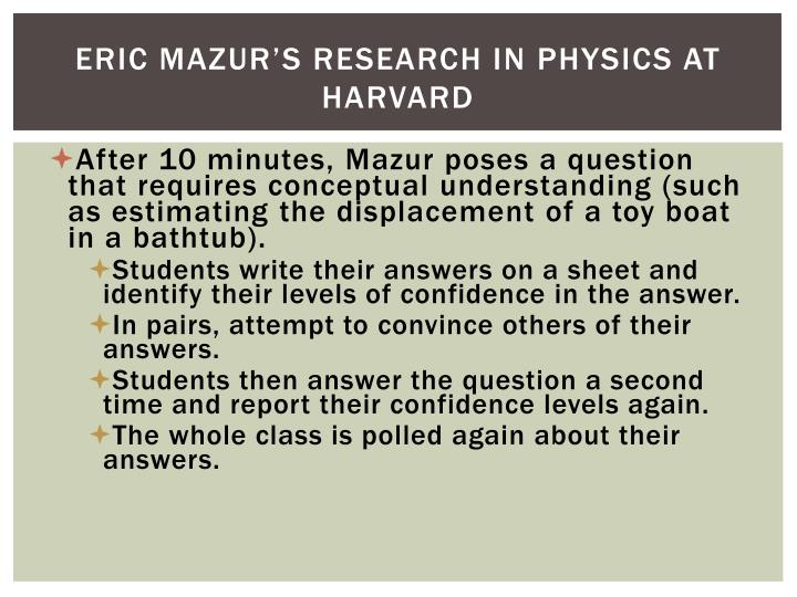 Eric Mazur's Research in Physics at Harvard