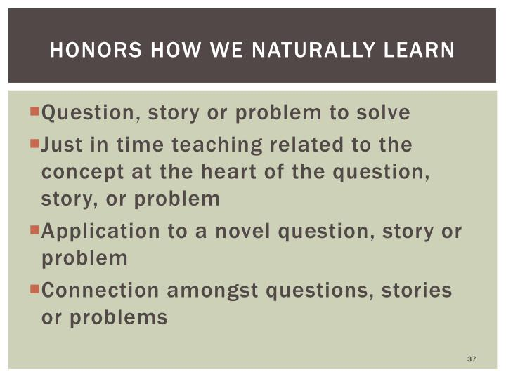 Honors how we naturally learn