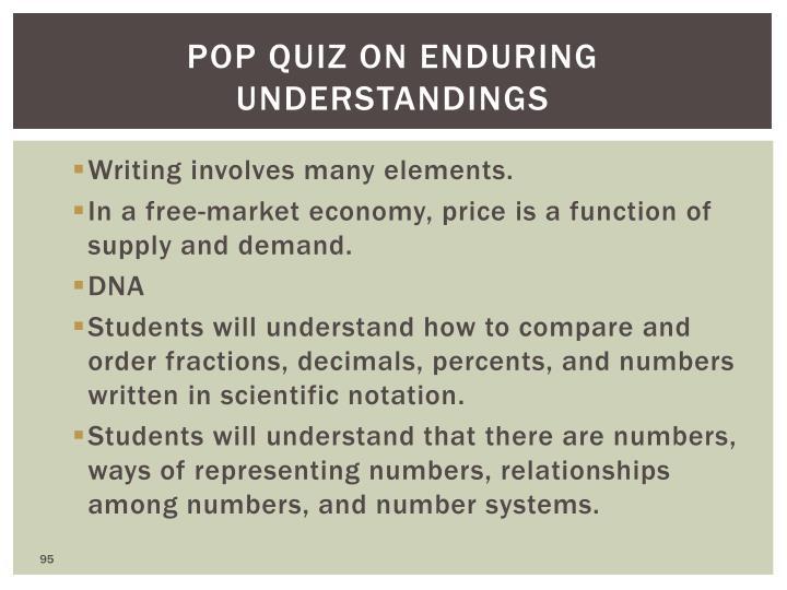 Pop quiz on enduring understandings