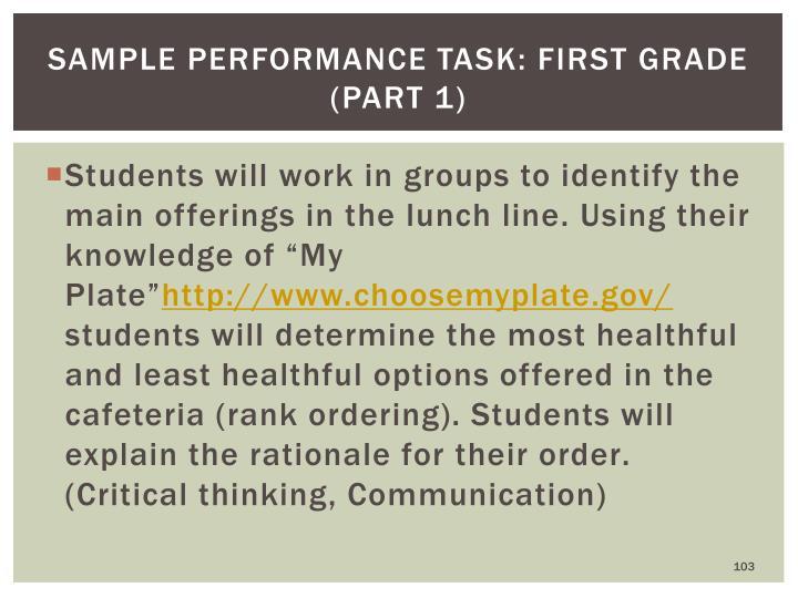 Sample Performance Task: First Grade (part 1)