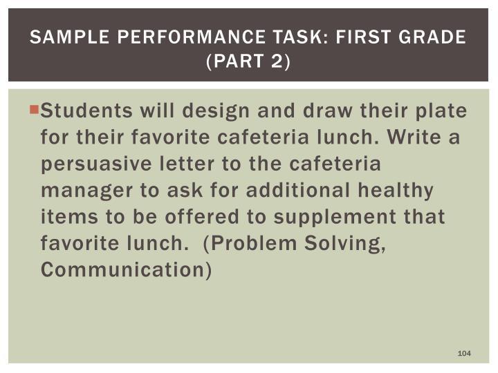 Sample Performance Task: First Grade (part 2)