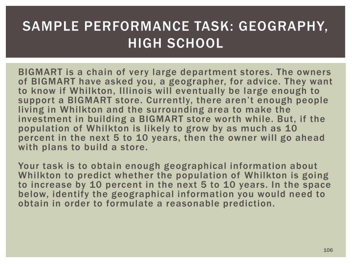 Sample Performance Task: Geography, High School