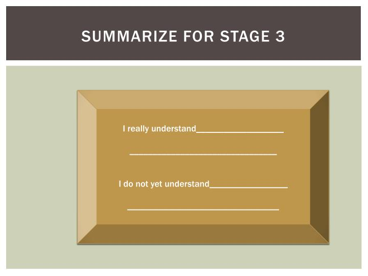 Summarize for Stage 3