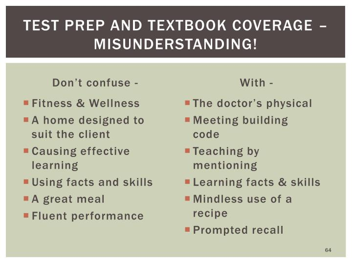 Test prep and textbook coverage – MISUNDERSTANDING!