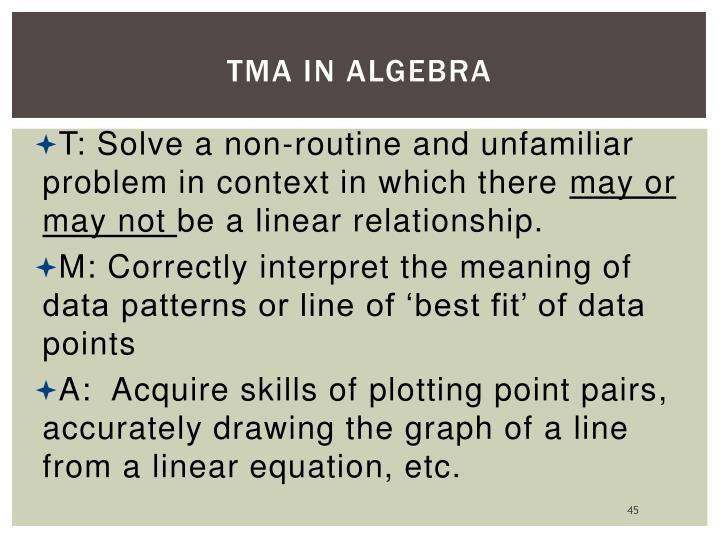TMA in Algebra
