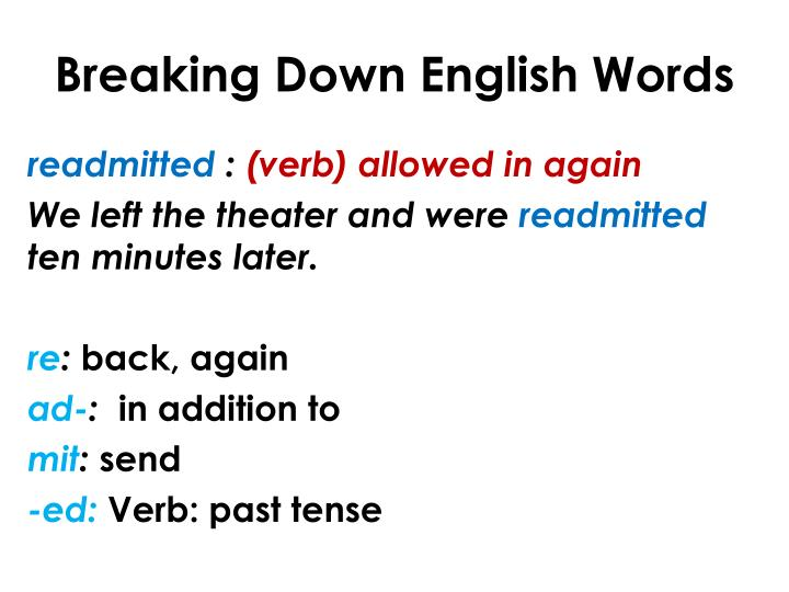 Breaking down english words