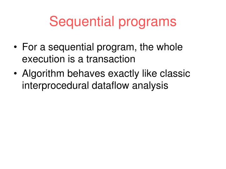 Sequential programs