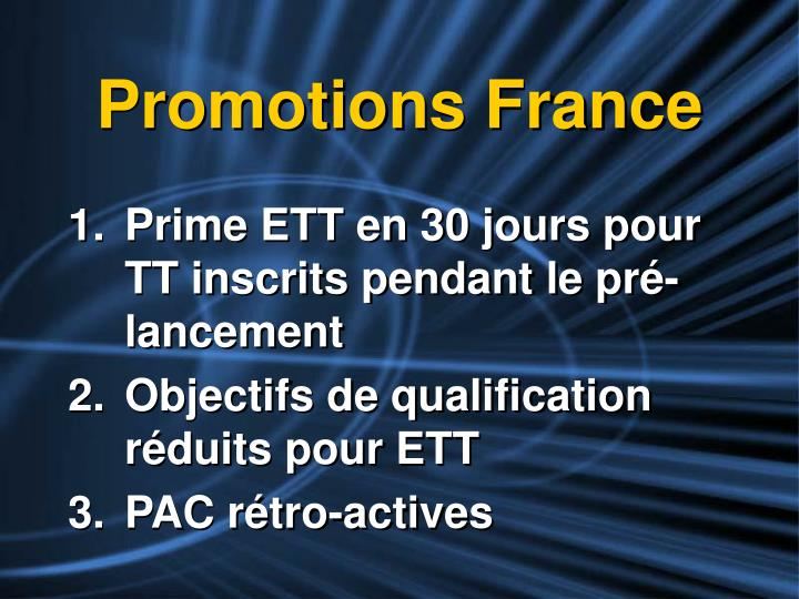 Promotions France