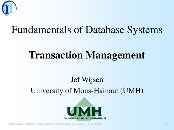 fundamentals of database systems transaction management n.