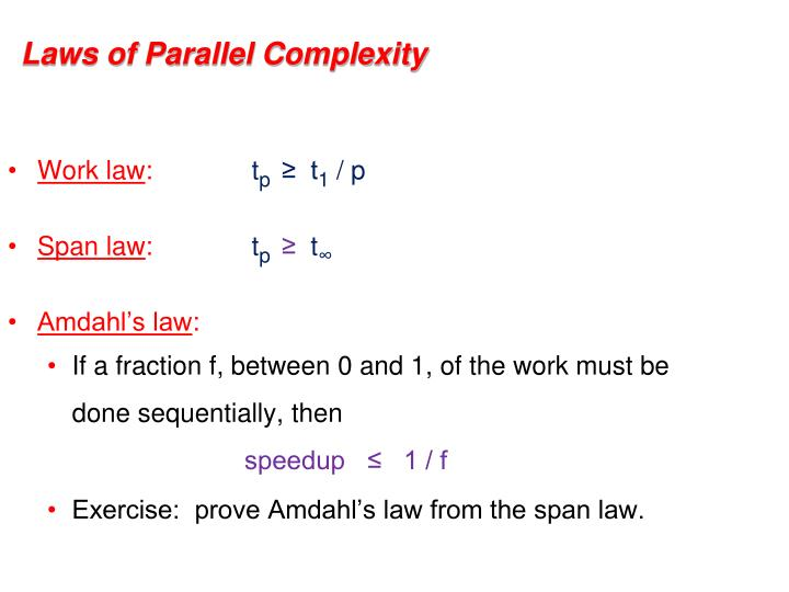 Laws of Parallel Complexity