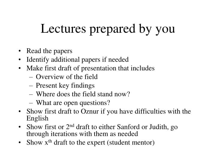 Lectures prepared by you