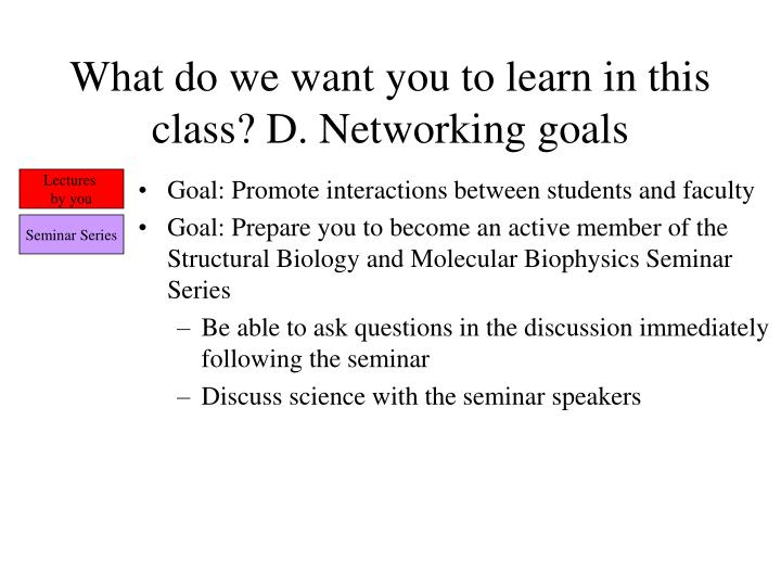 What do we want you to learn in this class? D. Networking goals