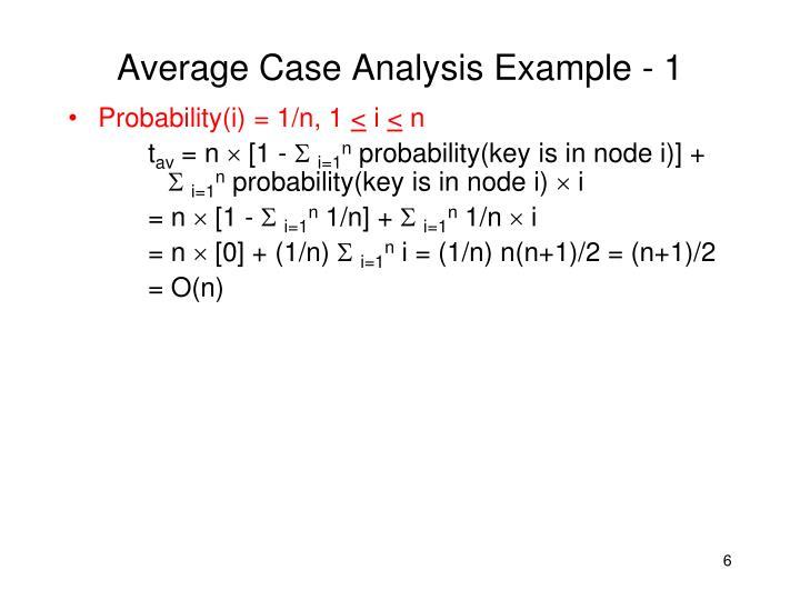 Average Case Analysis Example - 1