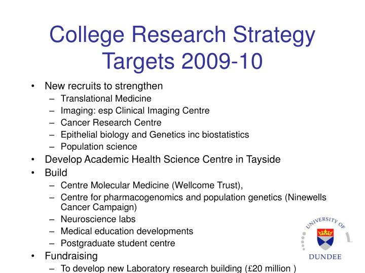 College Research Strategy Targets 2009-10