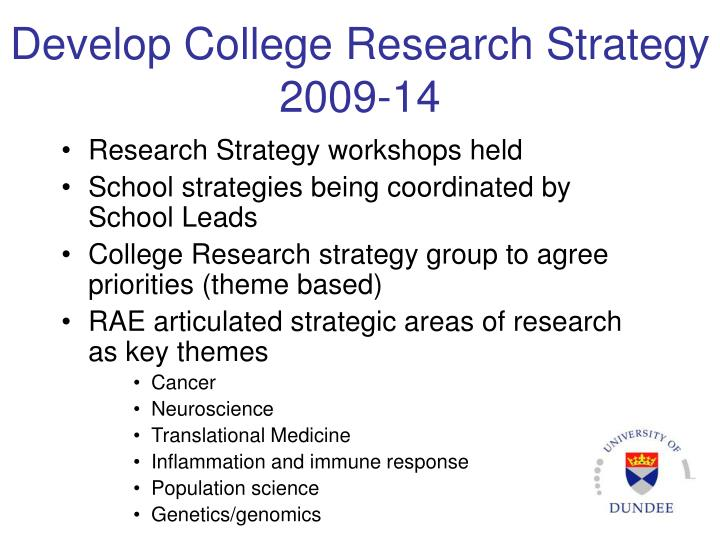 Develop College Research Strategy