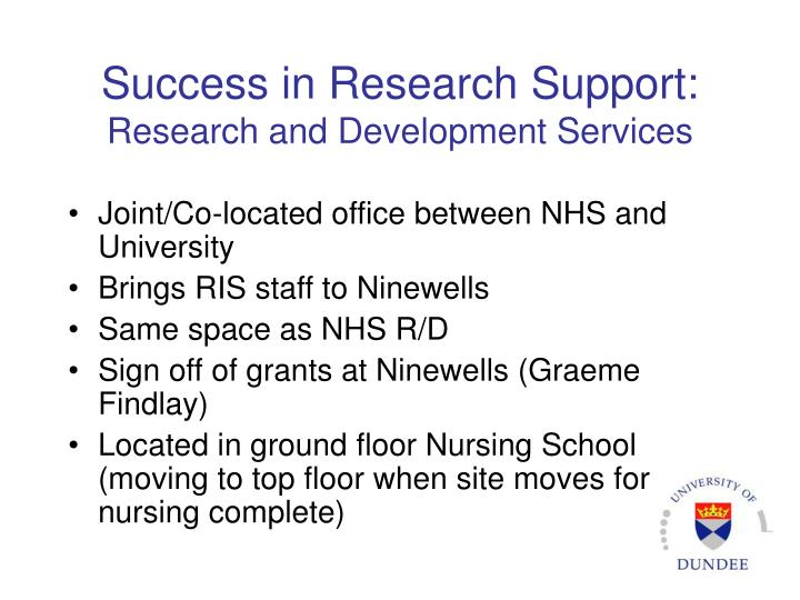 Success in Research Support: