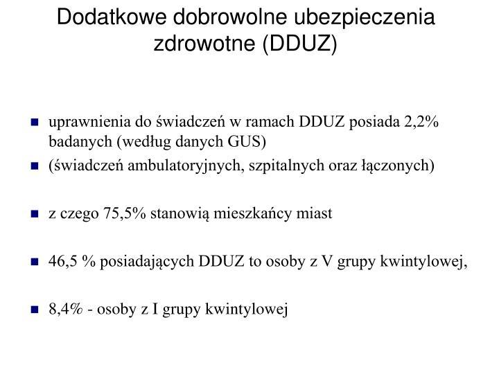 Dodatkowe dobrowolne ubezpieczenia zdrowotne (DDUZ)