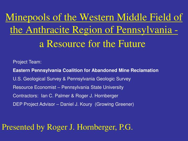 minepools of the western middle field of the anthracite region of pennsylvania n.