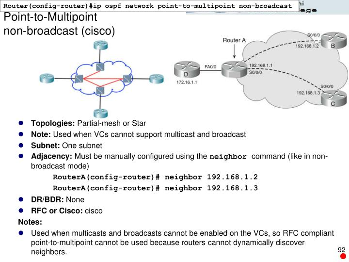 Router(config-router)#ip ospf network point-to-multipoint non-broadcast