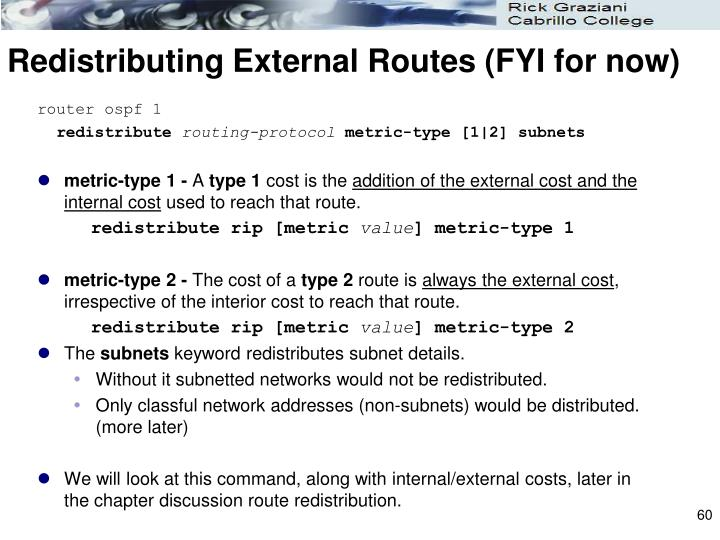 Redistributing External Routes (FYI for now)