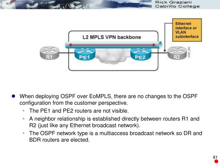 When deploying OSPF over EoMPLS, there are no changes to the OSPF configuration from the customer perspective.