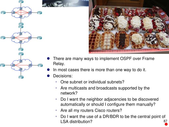 There are many ways to implement OSPF over Frame Relay.