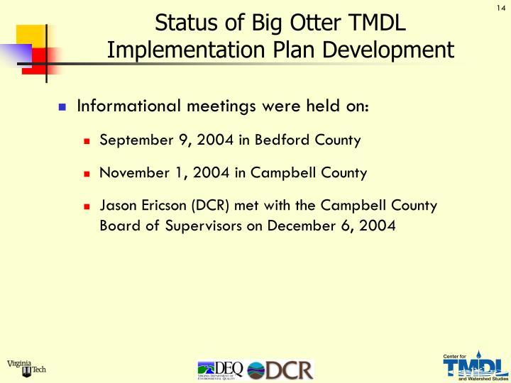 Status of Big Otter TMDL               Implementation Plan Development