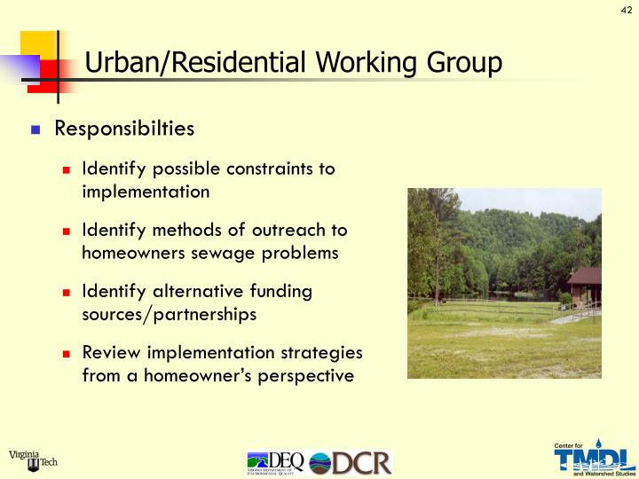 Urban/Residential Working Group