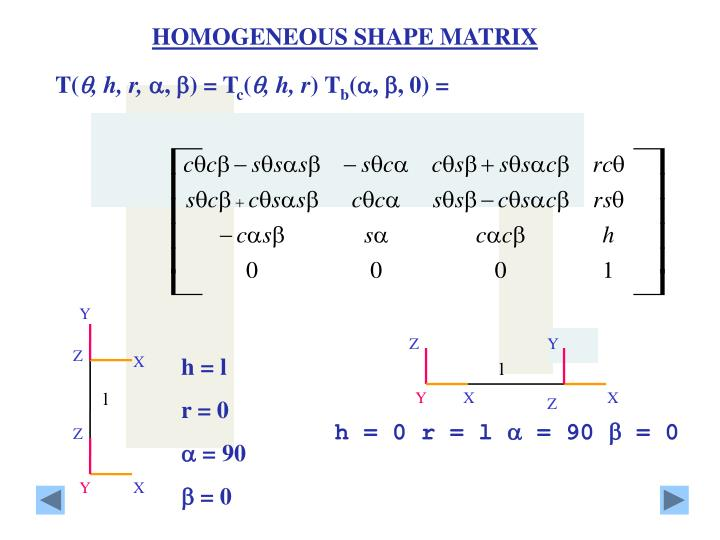 HOMOGENEOUS SHAPE MATRIX