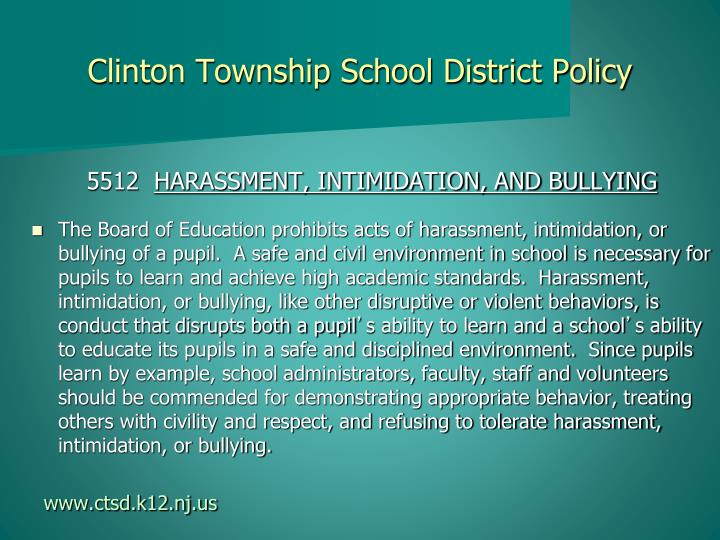 Clinton township school district policy