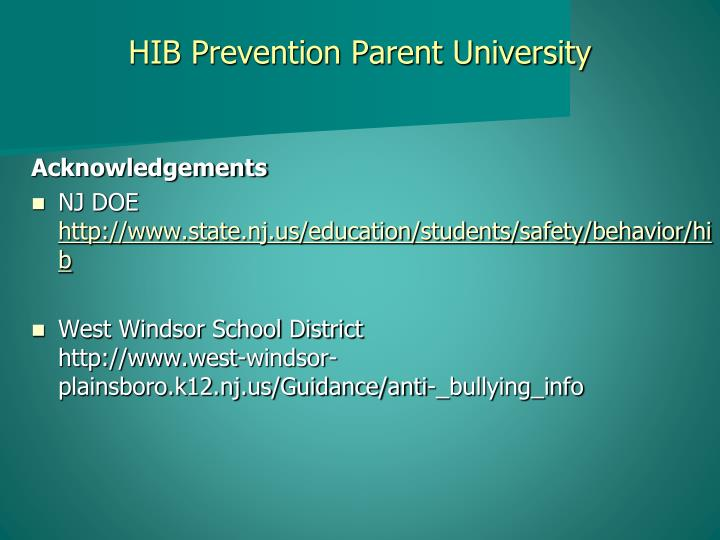 HIB Prevention Parent University