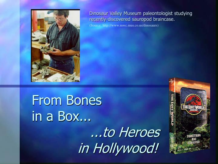 From bones in a box to heroes in hollywood