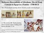hebrews descendents of abraham moved from canaan to egypt in a famine 1700 bce