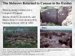 the hebrews returned to canaan in the exodus