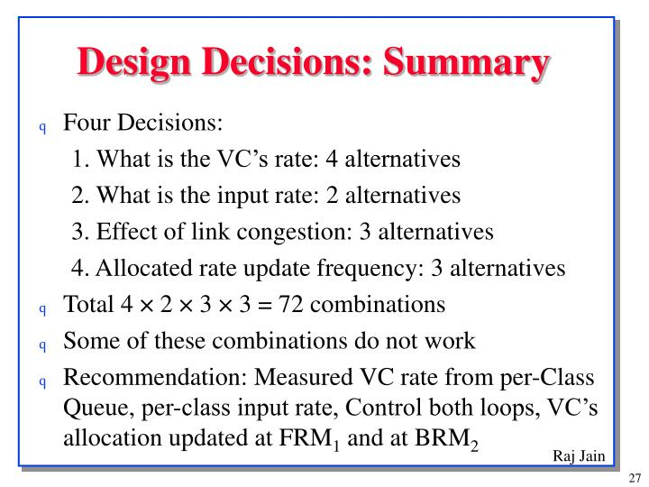 Design Decisions: Summary