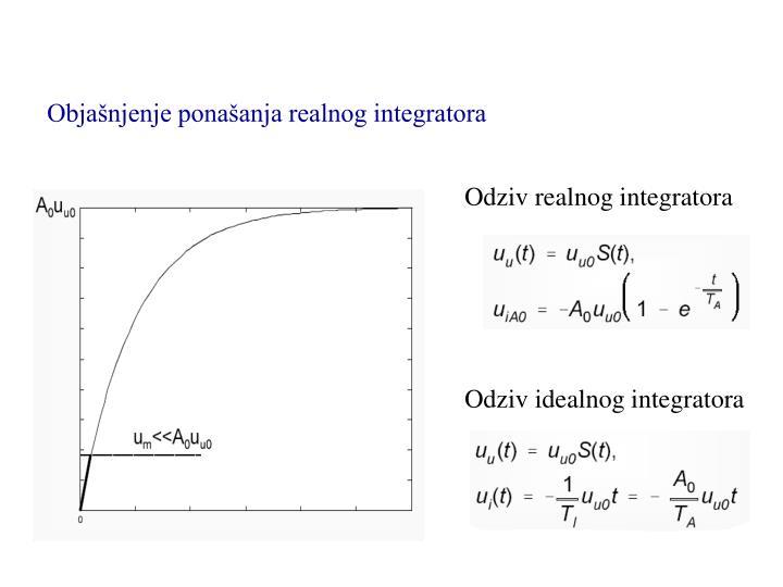 Objašnjenje ponašanja realnog integratora