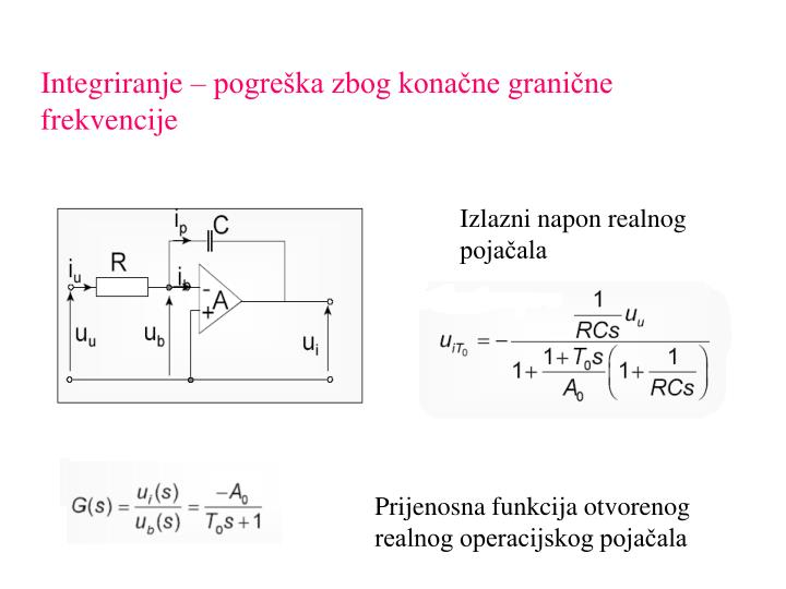 Integriranje – pogreška zbog konačne granične frekvencije